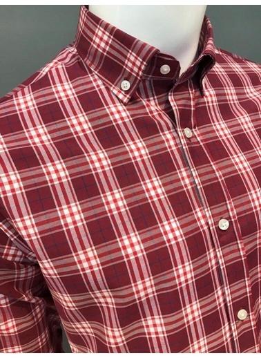 Abbate Kolay Ütülenır Düğmelı Yaka Ekose Regular Fıt Ceplı Gömlek Bordo